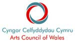 Blue and red circles, intertwined with Arts Council of Wales written underneath in Welsh and English