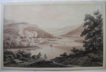 Subtle 19th century landscape image with factory in background, billowing smoke